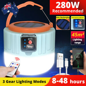 280W LED Solar Light + Remote USB Rechargeable Tent Picnic Emergency Outdoor A++