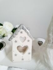 Beautiful Grey & White House Shaped T-light Candle Holder With Cut Out Heart