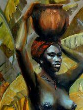 Ecole Française XXème Grande huile sur toile africaniste Signée Vers 1940/50