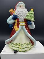"""13"""" Old World Santa Claus Cookie Ceramic Jar Canister Holiday Christmas Decor"""