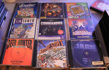24 VINTAGE WINDOWS PC VIDEO GAMES A-10 CUBA TOMB RAIDER SIM TOWER MOTO RACER