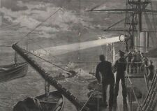 1878 Two Large Engravings - Searching For Torpedo Boats - Young Sailor Princes