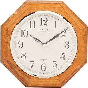 "Seiko 12"" Medium Brown Solid Oak Octagonal Shape Wall Clock QXA102BC"