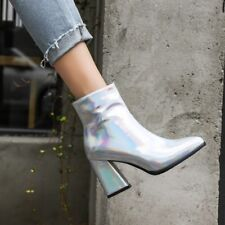 Women Sexy Pointy Toe Zipper Ankle Boots Block High Heels Patent Leather Shoes