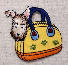 Terrier Puppy Dog Carry-on/Carrier Bag/Pets - Iron on Applique/Embroidered Patch