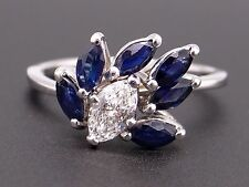 14k White Gold 1.50ct Marquise Cut Sapphire Diamond Cluster Band Ring Size 7.5