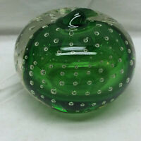 Vintage Glass Paperweight Bubbles Green