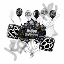 11 pc 60th Happy Birthday Balloon Decoration Party Elegant Adult Black White