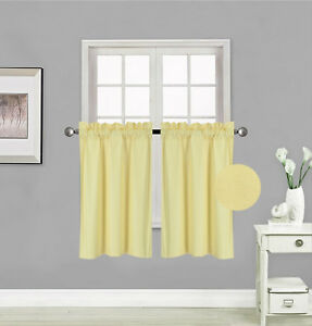 """1 PAIR Kitchen Rod Pocket Silk Window Tier Curtain Lined Blackout 30""""X 36"""" RS5"""