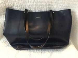 "Large Leather Vera Bradley tote, Navy Blue Bag. 12"" Tall -18""wide Vera Bradley"