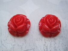 *BIG RED LUCITE ROSE* Silver Plated 27mm STUD Costume Earrings Rockabilly NEW