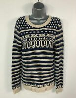 WOMENS FAT FACE SIZE UK 10 BLUE&CREAM KNITTED CASUAL PULLOVER SWEATER JUMPER TOP