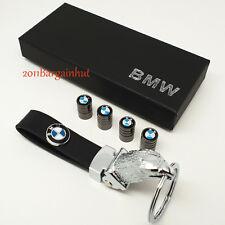 BMW de cuero y metal sólido Cadena Llavero Fob estuche y tapas de Polvo Válvula de neumáticos Lote