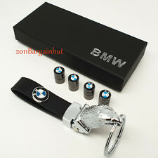 BMW Cuir & Métal Solide Key ring fob chain Case & Pneu Valve Dust Caps Lot