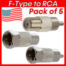 5pcs RCA to F-Type Adapter A/V RG59 RG6 Coaxial Cable Connector TV Antenna M/F
