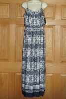 SMALL Maxi Dress NEW NWT Full Length Sundress AB STUDIO Womens S 4 6 Navy Blue