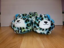 Girls Justice Brand Blue, White, Black & Yellow Leopard Slippers Size 13/1 Xs