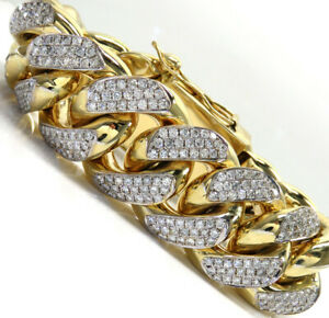 "Men's Xxl Solid 1 Inch 18.36 Cts Sim Diamond 9"" Bracelet 14k Yellow Gold Plated"