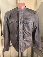 LUCKY BRAND Cafe Motorcycle Leather Biker Patina Barnstormer Jacket Mens Size L