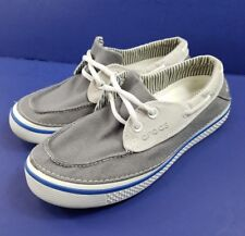 Crocs Mens Hover Boat Deck Slip On Canvas Shoes Gray and White Size 7