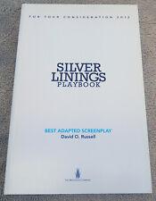 FYC Silver Linings Playbook, Script Book, Best Original Screenplay David Russell