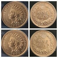 1904 & 1905 Indian Head Pennys 4  DIAMONDS ***REALLY NICE COINS***Cleaned