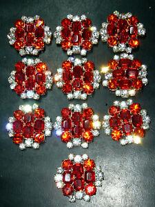 10x pcs CZECH  ART DECO VINTAGE RHINESTONE GLASS BUTTONS  *LOT*  E464