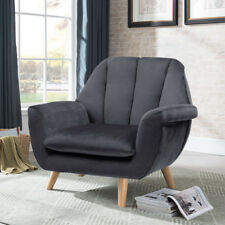 Soft Velvet Recline Chair Fabric Fireside Occasional Armchair Lounge Living Room