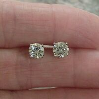 2 Ct Genuine Round Moissanite Solitaire Stud Earrings 14k White Gold Plated