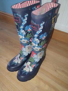 Joules Rain Boots Wellies Wellington Navy Floral Women's Ladies SIZE UK 6