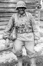 WWII B&W Photo German Totenkopf Soldier Russia 1941 World War Two  WW2 / 2157