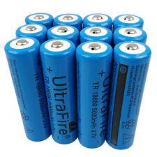 12X 18650 5000mAh 3.7V Li-ion Rechargeable Battery for Flashlight Headlamp Torch