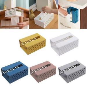 Wall Mounted Adhesive Tissue Box Napkin Toilet Paper Holder Shelf Dispenser