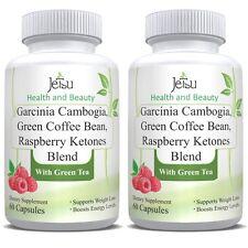 2 NEW Pure Blend Garcinia Cambogia Green Coffee Bean Raspberry Ketones Complex