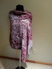 SHAWL Head WRAP winter Scarf hat cover silver and red new free ship