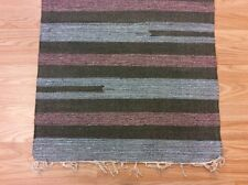 Striped Black Blue Handloomed 100% Cotton Rag RUG Durrie Mat 60x90cm 2x3 50%OFF