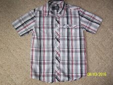 Young Boys XC button down shirt Size M White, Black, Red and Gray 100% cotton