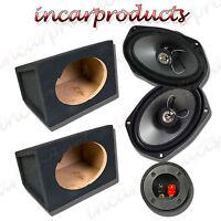 "Fli 6x9"" 2 way 270w Car Speakers with MDF 6x9 6 x 9"" Speaker Box Enclosure Pair"