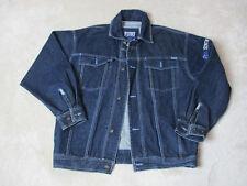 VINTAGE Fubu Platinum Jean Jacket Adult Large Blue Denim Coat Spell Out Mens 90s