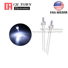 100pcs 2mm LED Diodes Water Clear White Light Flat Top Transparent USA