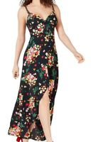 B. Darlin Womens Maxi Dress Black Size 3 Floral Button-Front Split-Hem $69- 241