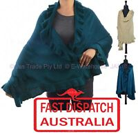 Ladies Winter Evening Knit Stole Cape Shawl Wrap Long Big Scarf Ruffled SOFT
