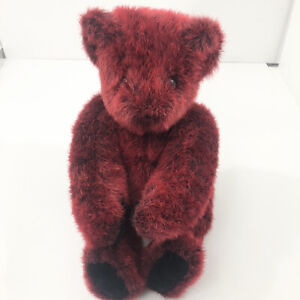 Vermont Teddy Bear Red Pose Able Jointed Plush Stuffed Animal