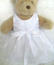 Teddy Bear Clothes, Handmade White Organza, 'Faith' Dress & Head Ribbon