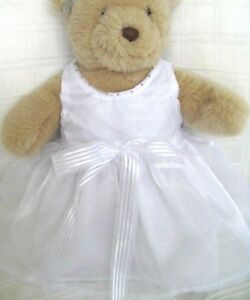 Teddy Bear Clothes, Handmade White Organza, 'Faith' Dress & Head Ribbon