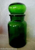 Collectible Emerald Green Blown & Molded Glass Apothecary Jar - Made in Belgium
