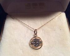 """10k Yellow Gold Harley Davidson Pendant & 18"""" Necklace~Stamper Black Hills NOS"""