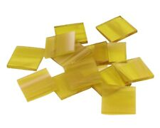 Pale Amber Wispy Squares | Fusible 96 | Cut Mosaic Glass Tile Shapes