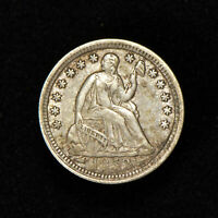 1853 H10c SEATED LIBERTY HALF DIME W/ ARROWS, LUSTER! ORIGINAL XF/AU COIN #Y689