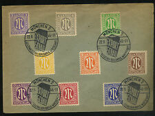 1946 GERMANY COVER MUNCHEN POST 3, 4, 5, 6, 8, 10, 12, 15, 25 PFENNIG STAMPS